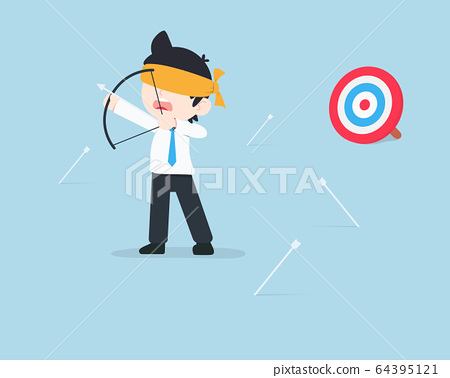 SD Business Man Being blindfolded and the arrow 64395121