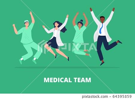Concept of happy medicine team.  64395859