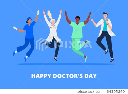 Concept of happy doctor's day.  64395860