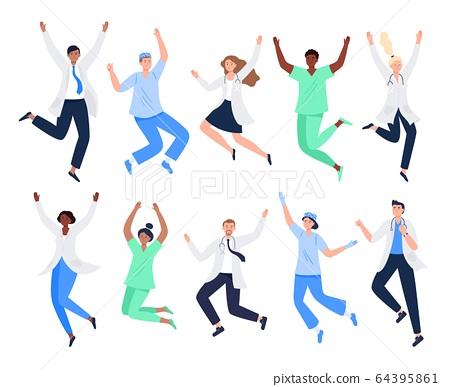 Set of happy medicine workers.  64395861