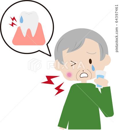 Hypersensitive senior male gargling 64397461