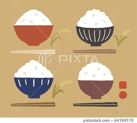 Rice bowl, rice, chopsticks and rice color 64399570