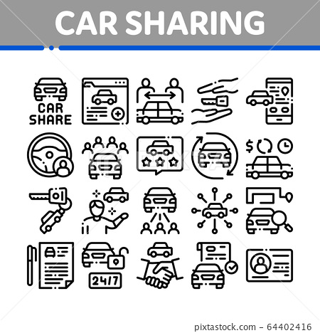 Car Sharing Business Collection Icons Set Vector 64402416