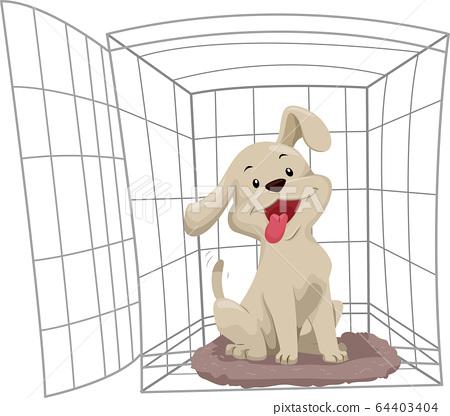 Dog Crate Training Illustration 64403404
