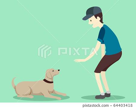 Man Dog Command Lie Down Illustration 64403418