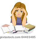 Teen Girl Study Stressed Illustration 64403485