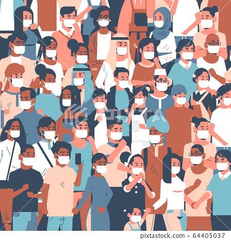 crowd of people wearing medical masks novel coronavirus 2019-nCoV epidemic disease pandemic quarantine concept men women standing together portrait 64405037