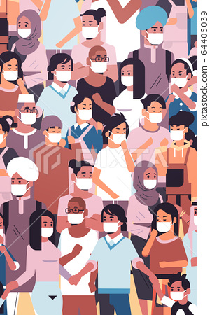 crowd of people wearing medical masks novel coronavirus 2019-nCoV epidemic disease pandemic quarantine concept men women standing together portrait vertical 64405039