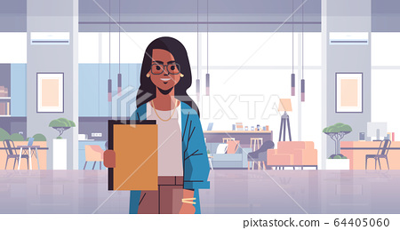 indian businesswoman holding folder business woman in coworking space modern office room interior creative workspace horizontal flat portrait 64405060
