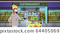 woman customer in medical protective mask pushing trolley cart quarantine coronavirus epidemic concept people buying goods in grocery store supermarket exterior portrait horizontal 64405069