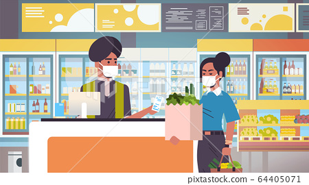 indian cashier and woman customer in medical protective masks quarantine coronavirus epidemic concept people buying goods in grocery store supermarket interior portrait horizontal 64405071