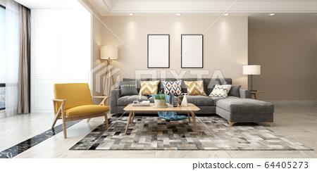 春季客廳室內設計 64405273