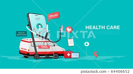 Online health care service on mobile concept, mobile health, telehealth, modern medical technology. Vector illustration 64406652