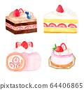 Strawberry cake (watercolor) 64406865