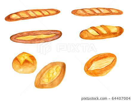 French Bread Watercolor Painting Stock Illustration 64407004 Pixta