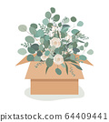 Beautiful luxury bouquet in a craftboard box. Roses flowers, and eucalyptus branches. Vector illustration 64409441