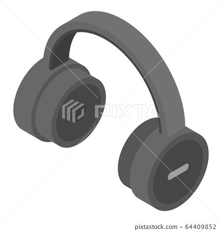 Large wireless headphones icon, isometric style 64409852