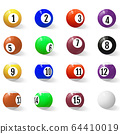 Billiard, pool or snooker balls with numbers. 64410019