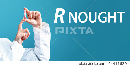 R Nought theme with a doctor holding a laboratory vial 64411620