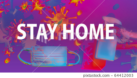 Stay home theme with face mask and spray bottle 64412003