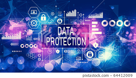 Data protection concept with technology light background 64412009