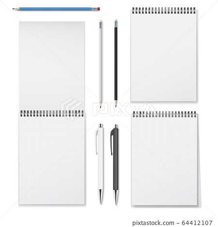 Realistic vector set of vertical spiral notebooks open closed and writing instruments such as 64412107