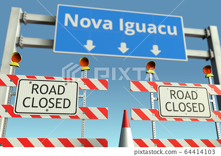 Traffic barricades near Nova Iguacu city traffic sign. Quarantine or lockdown in Brazil conceptual 3D rendering 64414103