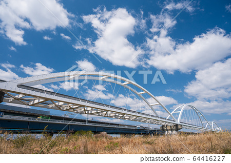 Osaka Monorail iron bridge over the Yodogawa 64416227