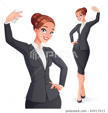 Pretty smiling businesswoman in office wear taking selfie photo. Isolated vector illustration. 64417615