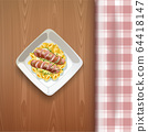 Sausages with pasta and greens. Vector illustration 64418147