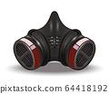 Face mask respirator. Inhaler carbon Filter icon 64418192