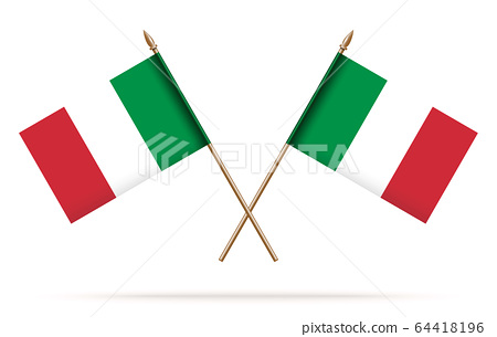 Two crossed Italian flags. Italian tricolor flags 64418196