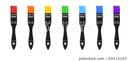 A set of seven paint brushes painted 64418263