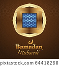 Window with arabic pattern for islamic greeting 64418298