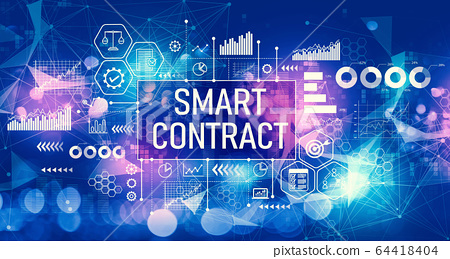 Smart contract concept with technology light background 64418404