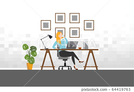 Woman working with phone workplace scene with laptop at her desk at home.vector illustration 64419763