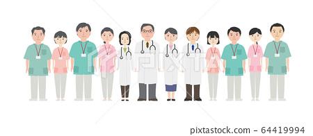 많은 의료 종사자들 (백의) 64419994
