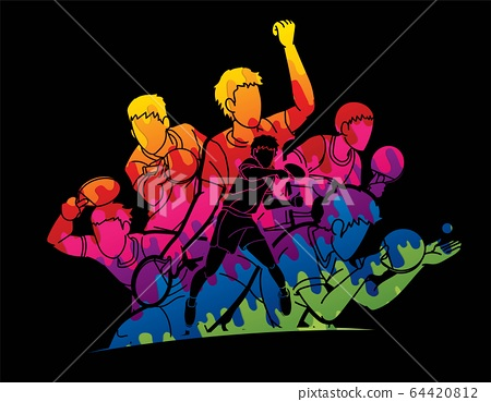 Group of Ping Pong players, Table Tennis players action cartoon sport graphic vector. 64420812