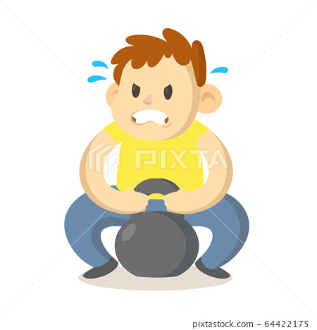 Focused boy trying to lift up a heavy sports weight, cartoon character design. Flat vector illustration, isolated on white background. 64422175