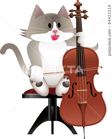 Cat and cello 64422214