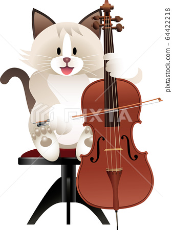 Cat and cello 64422218