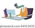 Alien character in office working on laptop vector 64422635