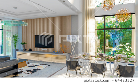 living room interior 3d illustration 64423327