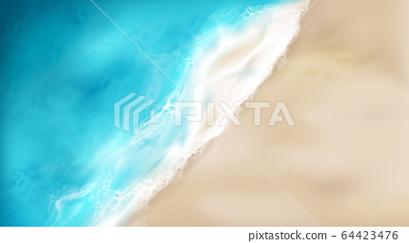 Top view of sea wave with foam splashing on beach 64423476