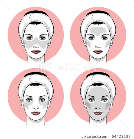 Beautiful woman with Patches instruction smoothing deep wrinkles. 64425185