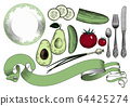 Collection of vegetables and dishes on a white background. 64425274