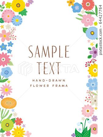 手繪花和葉子的框架與垂直字符 64427764