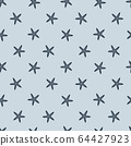 cartoon seamless starfish pattern on blue 64427923
