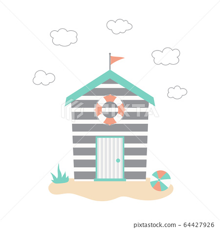 cartoon beach huts isolated on white background 64427926