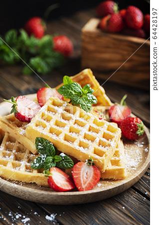 Homemade sweet waffle 64428197